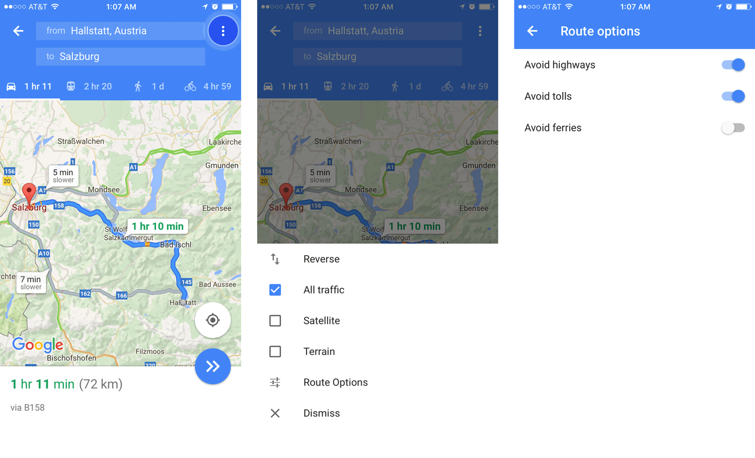 Google Maps: No Toll Roads or Highways