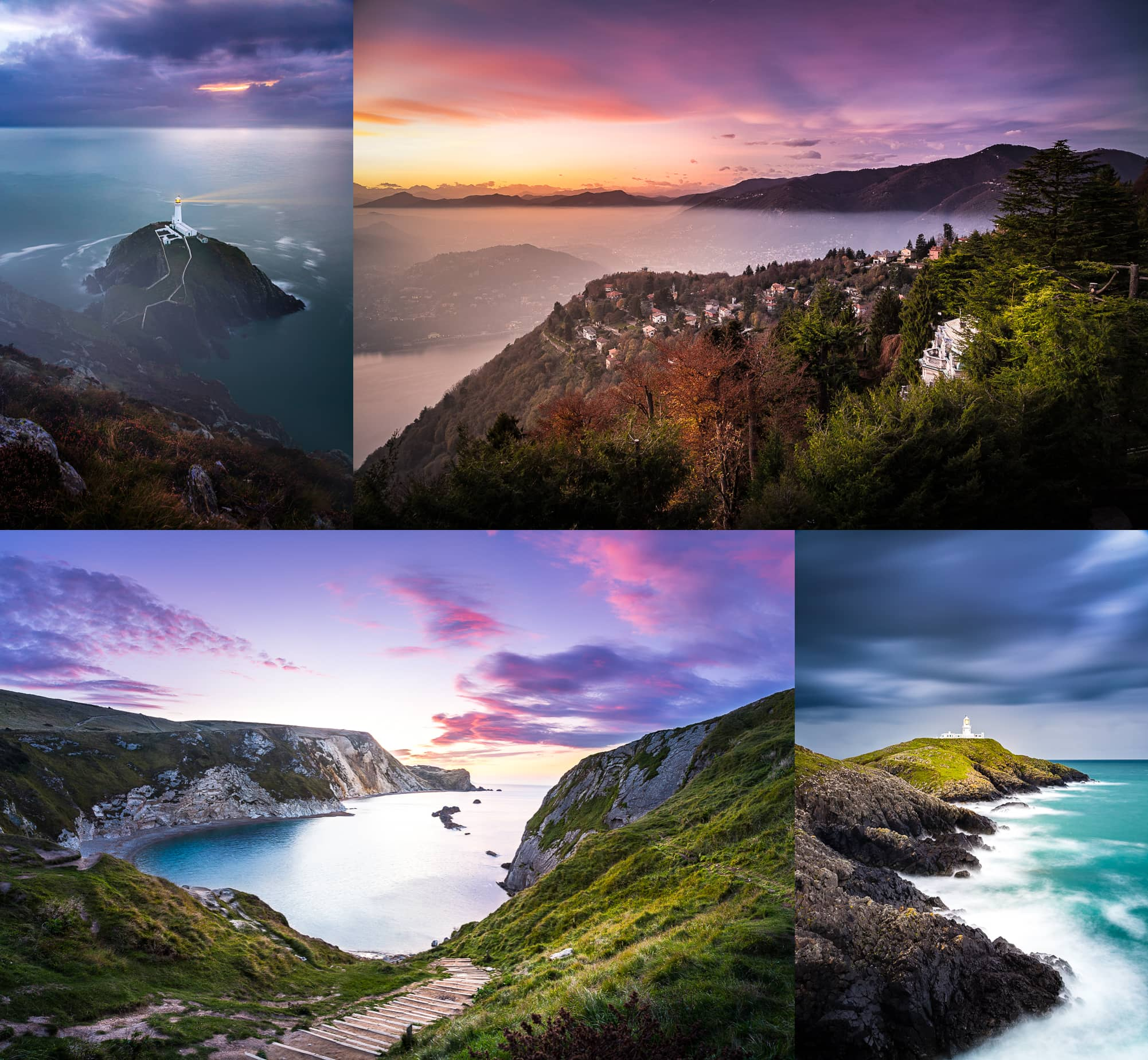 South Stack Lighthouse in Wales, Brunate Italy, Lulworth Cove in England, and Strumble Head Lighthouse in Wales